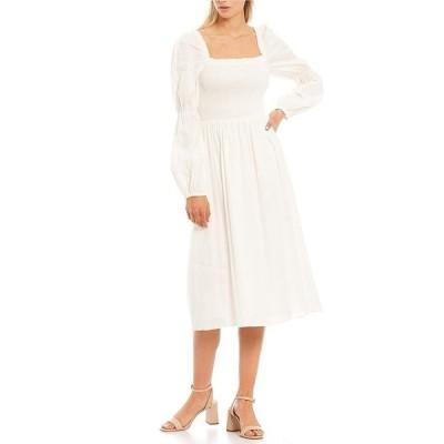アントニオメラニー レディース ワンピース トップス Tarra Linen Smocked Dress Ivory