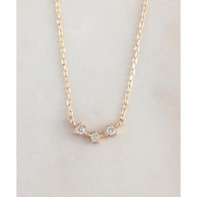 ネックレス K10 3粒 ダイヤモンド 横並び ネックレス