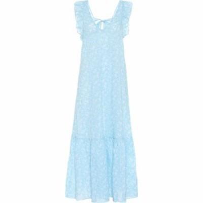 ガニー Ganni レディース ワンピース マキシ丈 ワンピース・ドレス Floral cotton-voile maxi dress Alaskan Blue