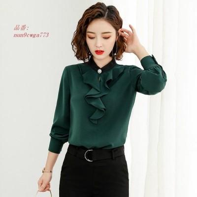 レディース シンプル フリル 3XL L 緑 トップス ホワイト S 大きいサイズ ブラウス グリーン 白 M ロングシャツ ベージュ 4XL 2XL 長袖シャツ XL