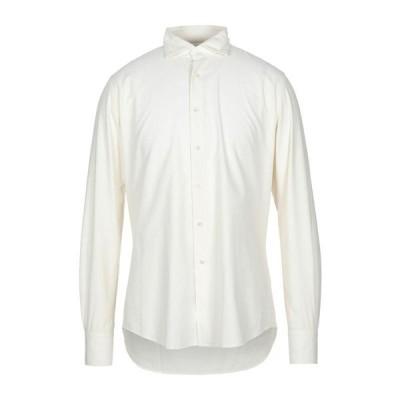 GLANSHIRT 無地シャツ ファッション  メンズファッション  トップス  シャツ、カジュアルシャツ  長袖 アイボリー