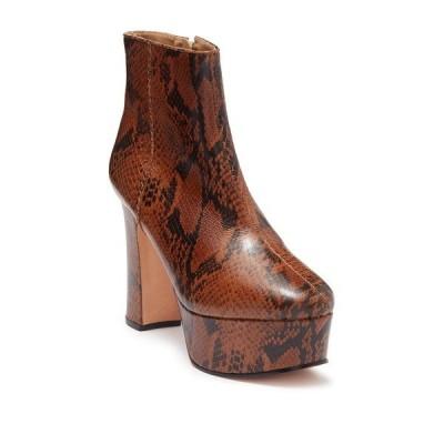 シュッツ レディース ブーツ&レインブーツ シューズ Ravena Leather Snakeskin Print Platform Ankle Boot WOOD