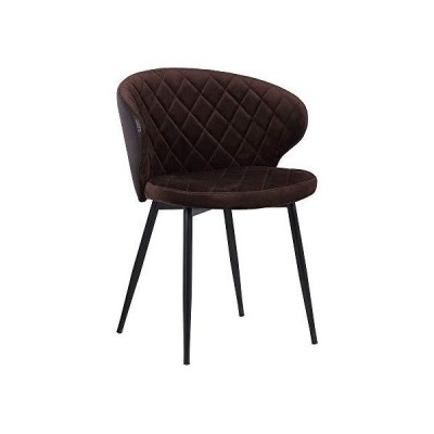 Armen Living Ava Contemporary Velvet Dining Room Kitchen Accent Chair, 30.5 Inch Height, Brown, Black