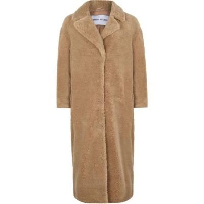 スタンド STAND レディース コート ファーコート アウター Camille Long Fur Coat Beige