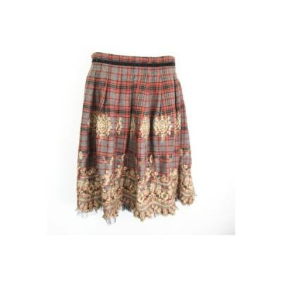【中古】マデイラ  Madeira ウール混 チュール切替 刺繍 チェック 膝丈ギャザースカート グレー  38 レディース 【ベクトル 古着】
