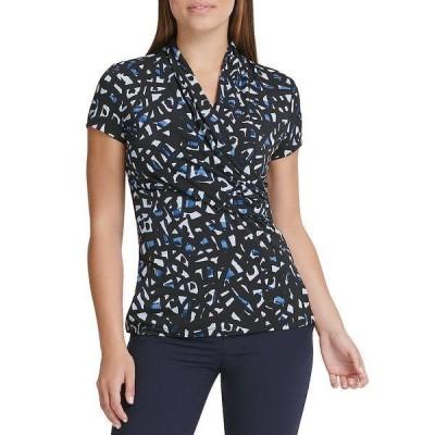 ダナ キャラン ニューヨーク レディース Tシャツ トップス Abstract Geo Print Short Sleeve Side Ruched Top Navy Combo