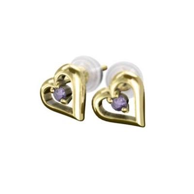 アメジスト(紫水晶) ペアピアス オープンハート 18金イエローゴールド 2月の誕生石 キャッチ付き