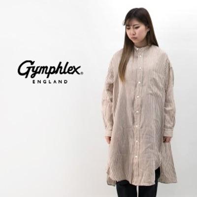 Gymphlex ジムフレックス レディース リネンドビーストライプ バンドカラーシャツワンピース[J-1363DLS]【2020SS】