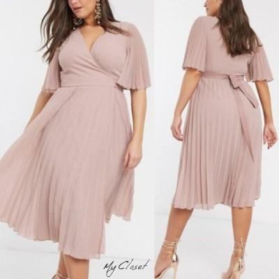 ワンピース ドレス 大きいサイズ エイソス ASOS シフォンミディアム丈 プリーツ Vネック ピンク 半袖 イギリス インポート