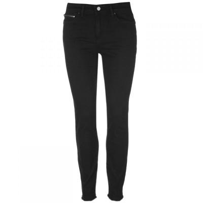 アルマーニ Armani Exchange レディース ジーンズ・デニム クロップド スキニー ボトムス・パンツ Armani J05 Zip Super Skinny Cropped Jeans Black