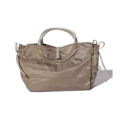 (BRONTIBAYPARIS/ブロンティベイパリス)フランス製ナイロンハンドバッグ「コモ」/レディース ダークベージュ*ゴールド