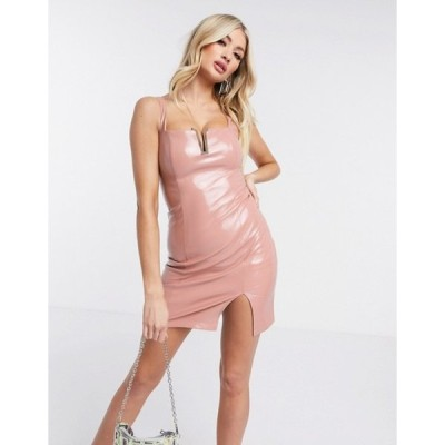 レア レディース ワンピース トップス Rare London PU bodycon mini dress in pink