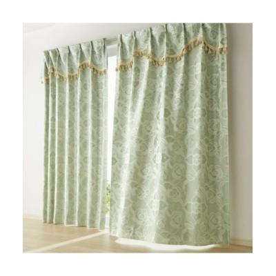 上飾り付きローズ柄ジャガード織遮熱・遮光カーテン ドレープカーテン(遮光あり・なし) Curtains, blackout curtains, thermal curtains, Drape(ニッセン、nissen)