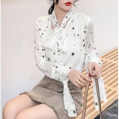スタープリント 星柄 リボン シフォン ブラウス シャツ デート 女子会 韓国 オルチャン