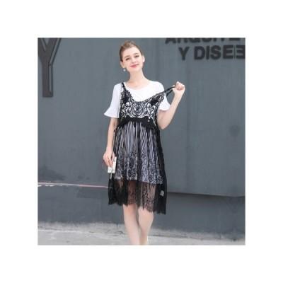 重ね着 透け感レース マタニティドレス フォーマル パーティードレス お呼ばれドレス kh-1208
