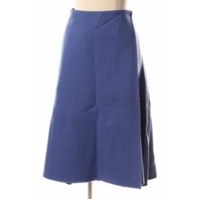 【中古】ドゥロワー Drawer スカート フレア ラップ ミモレ ウール 38 青 ブルー /☆t0510 レディース