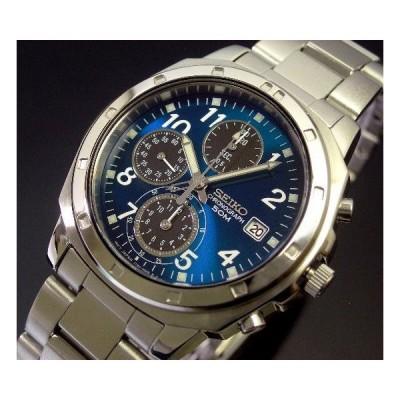 SEIKO セイコー クロノグラフ メンズ腕時計 ブルー/ブラック文字盤 メタルベルト SND193 海外モデル