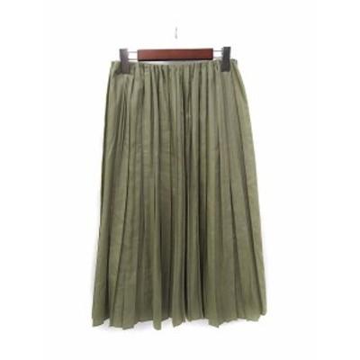 【中古】ドニーユ DONEEYU スカート 38 緑 グリーン ミモレ プリーツ 無地 シンプル レディース