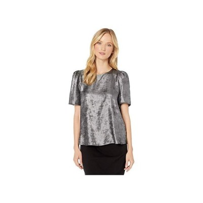 Vince Camuto Short Sleeve Distressed Foil Shoulderpad Blouse レディース シャツ トップス Rich Black