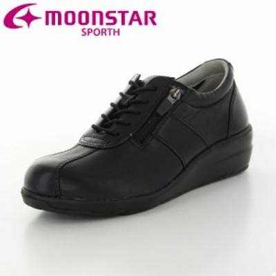 送料無料 ムーンスター スポルス レディース カジュアルコンフォートシューズ 靴 SP0214 ブラック 外反母趾の方にもおすすめ シープレザ