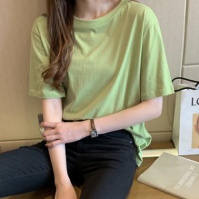 Tシャツ レディース 半袖 大きいサイズ 春 夏 カットソー プルオーバー 5分袖 ロング丈 ワイドシルエット ドロップショルダー ゆったり
