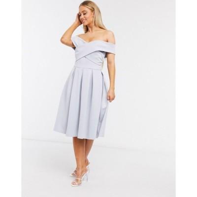 チチロンドン ミディドレス レディース Chi Chi London off shoulder prom dress in powder blue エイソス ASOS ブルー 青
