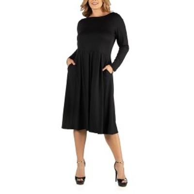 24セブンコンフォート レディース ワンピース トップス Midi Length Fit N Flare Pocket Plus Size Dress Black