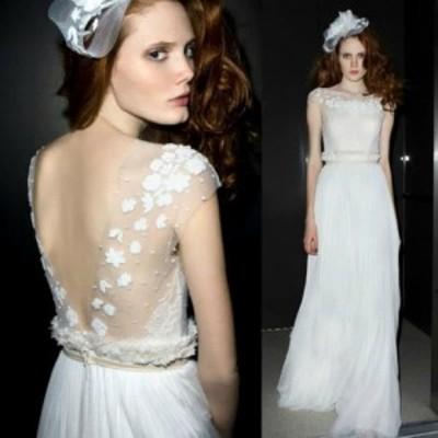 バックオープンデザインホワイトロングドレス a0543