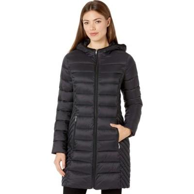 トミー ヒルフィガー Tommy Hilfiger レディース ダウン・中綿ジャケット フード アウター Mid Length Hooded Packable Jacket Black