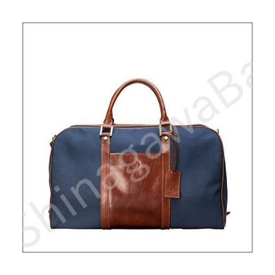 Maxwell Scott Canvas/Leather Weekend Travel Bag - Navy & Tan並行輸入品