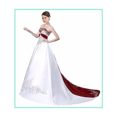 Edaier Women's Court Train Satin Wedding Dress Bride Gown Size 8 Ivory Red並行輸入品