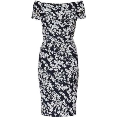ジーナ バッコーニ Gina Bacconi レディース ワンピース ワンピース・ドレス Genevive Floral Bardot Dress White & Navy