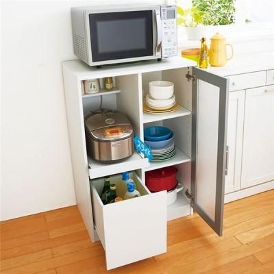 キッチン収納/キッチンボード 〔ロータイプ ホワイト〕 約幅60cm 引き出し 扉付き スライド 組立品