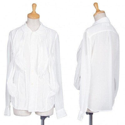 コムデギャルソンCOMME des GARCONS シフォン立体チューブデザインラウンドカラーシャツ 白XS 【レディース】