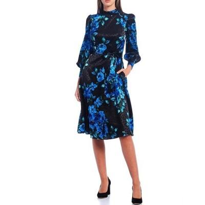 ドナモーガン レディース ワンピース トップス Floral Printed Silky Dot Jacquard Mock Neck Long Sleeve Midi Dress Black/Cobalt