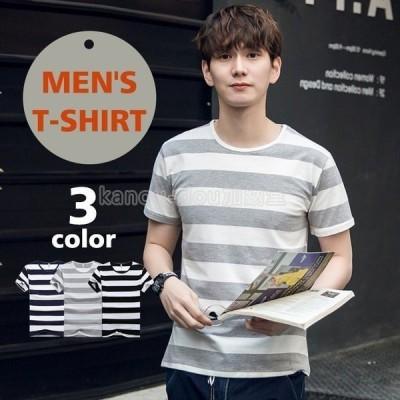 Tシャツ メンズ 半袖 夏 ロンT 無地 Uネック ロングTシャツ シンプル カジュアル トップス Tシャツ カジュアルシャツ 3色