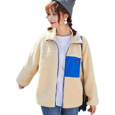 NANNRE レディース ボア ジャケット ブルゾン アウターコート ボアブルゾン ボアコート もこもこ ゆったり 暖かい 冬 防寒 長袖 冬 カジュ