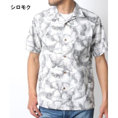 【マルカワ】 綿 アロハシャツ 総柄 プリント オープンカラー メンズ シロモク L MARUKAWA