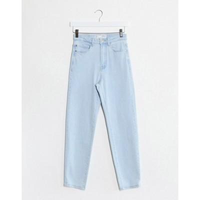 ストラディバリウス レディース デニムパンツ ボトムス Stradivarius slim mom jean with stretch in light blue wash