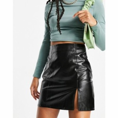 ナーナー NaaNaa レディース ミニスカート スカート Side Split Faux Leather Mini Skirt ブラック