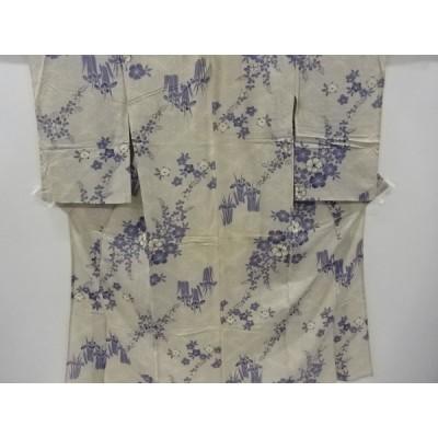 アンティーク 絽撫子に萩・菖蒲模様着物