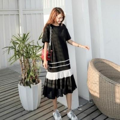 韓国 ファッション レディースワンピ 夏 モノトーンワンピース 半袖 ミモレ丈スカート 大人っぽい 裾シースルー 大きめサイズ K0392