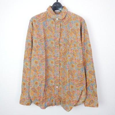 15SS ENGINEERED GARMENTS Round Collar Shirt - Paisley Indian Print コットン 長袖 ペイズリー 花柄 ラウンドカラーシャツ KHAKI S