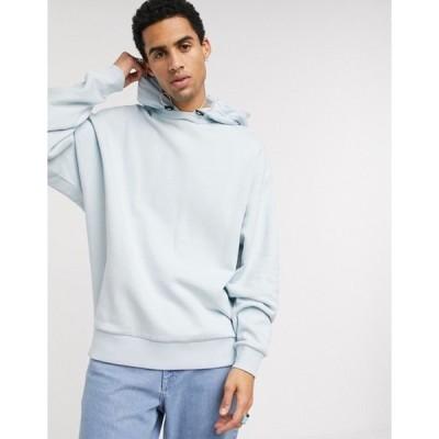 エイソス メンズ パーカー・スウェット アウター ASOS DESIGN oversized hoodie with nylon hood in light blue
