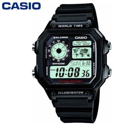 【送料無料】チープカシオ WORLD TIME STANDARD DIGITAL  腕時計 CASIO AE-1200WH-1AV ブラック
