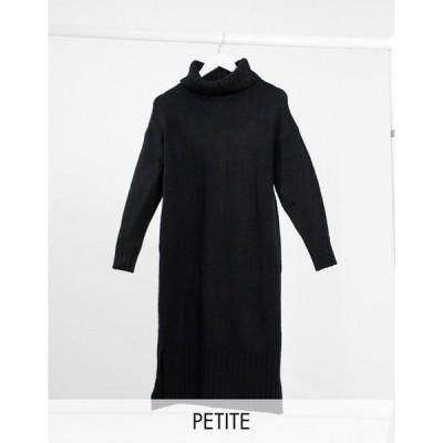 ニュールック ミディドレス レディース New Look Petite roll neck dress in black エイソス ASOS sale ブラック 黒
