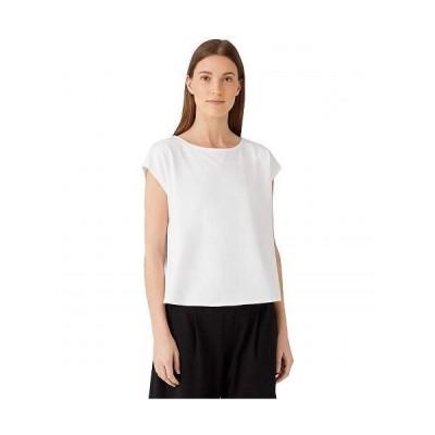 Eileen Fisher アイリーンフィッシャー レディース 女性用 ファッション Tシャツ Ballet Neck Short Sleeve Box Top in Organic Cotton Stretch Jersey - White