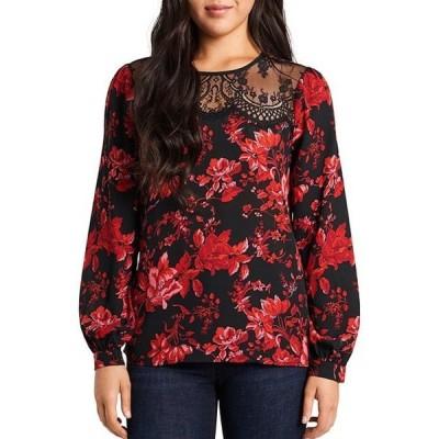 ヴィンスカムート レディース シャツ トップス Long Sleeve Lace Yoke Floral Pleat Front Blouse