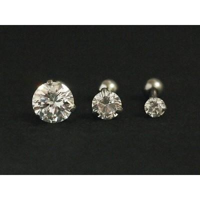 CZダイヤモンド 立爪 (3爪) ストレートバーベル 16G ボディピアス (クリア)(S)