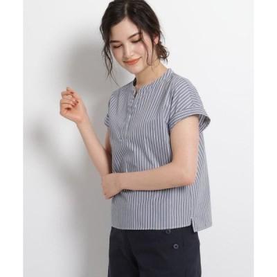 Dessin / デッサン 【S~Lサイズあり・洗える】スリットネックフレンチスリーブシャツ